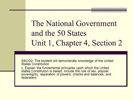The National Government and the 50 States Unit 1, Chapter 4, Section 2 SSCG2: The student will demonstrate knowledge of the United States Constitution.