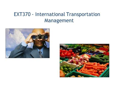 EXT370 - International Transportation Management.