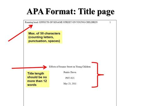 APA Format: Title page Running head: EFFECTS OF SESAME STREET ON YOUNG CHILDREN1 Effects of Sesame Street on Young Children Prairie Dawn PSY 4U1 May 23,