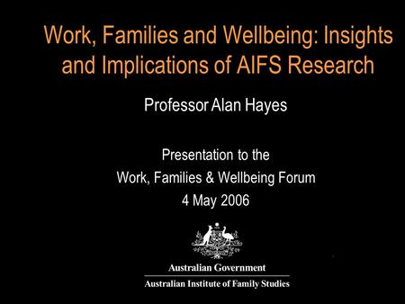 Work, Families and Wellbeing: Insights and Implications of AIFS Research Professor Alan Hayes Presentation to the Work, Families & Wellbeing Forum 4 May.