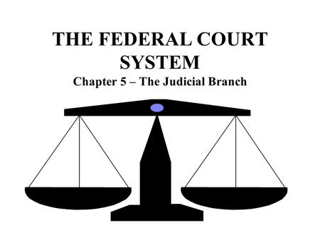 THE FEDERAL COURT SYSTEM Chapter 5 – The Judicial Branch