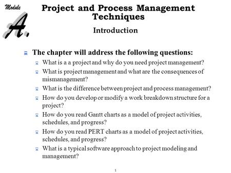 1 Project and Process Management Techniques Introduction  The chapter will address the following questions:  What is a a project and why do you need.