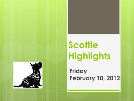 Scottie Highlights Friday February 10, 2012. Menu  Pizza or  Fish/Cheese/Bun  Peas  Applesauce.