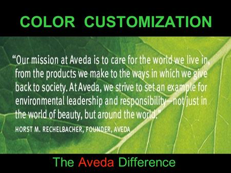 COLOR CUSTOMIZATION The Aveda Difference.