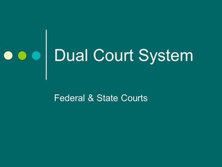 Dual Court System Federal & State Courts. Set Up of the Federal Court System Judiciary Act of 1789 United States Supreme Court 13 U.S. Court of Appeals.