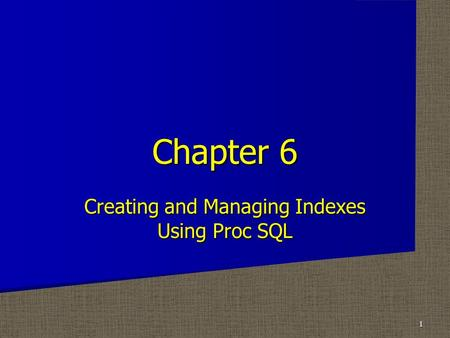 Creating and Managing Indexes Using Proc SQL Chapter 6 1.