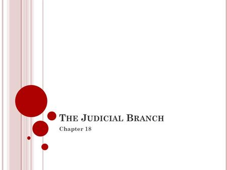 T HE J UDICIAL B RANCH Chapter 18. P ART 1 What is the US Court System?