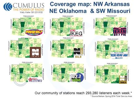 Coverage map: NW Arkansas NE Oklahoma & SW Missouri Our community of stations reach 293,280 listeners each week.* * Source Nielsen Spring 2014 Total Service.