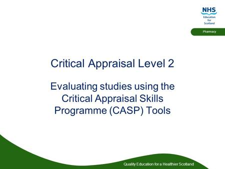 Developing your critical appraisal skills