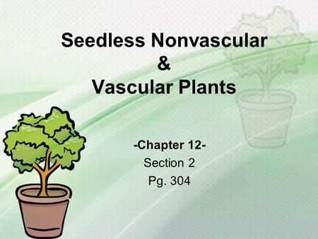 Seedless Nonvascular & Vascular Plants -Chapter 12- Section 2 Pg. 304.