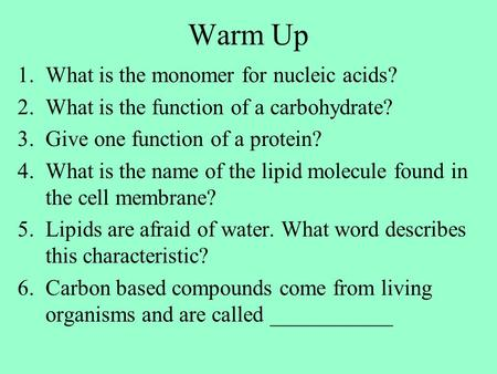 Warm Up 1.What is the monomer for nucleic acids? 2.What is the function of a carbohydrate? 3.Give one function of a protein? 4.What is the name of the.