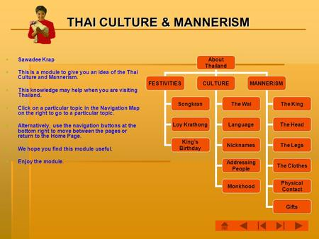 THAI CULTURE & MANNERISM   Sawadee Krap   This is a module to give you an idea of the Thai Culture and Mannerism.   This knowledge may help when.