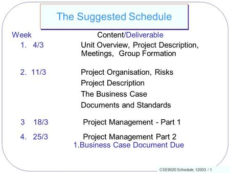 CSE9020 Schedule, 12003 / 1 The Suggested Schedule Week Content/Deliverable 1. 4/3Unit Overview, Project Description, Meetings, Group Formation 2. 11/3Project.