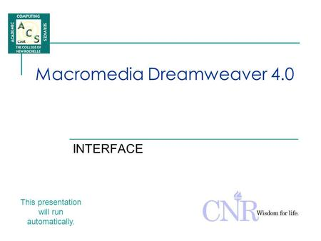 Macromedia Dreamweaver 4.0 INTERFACE This presentation will run automatically.