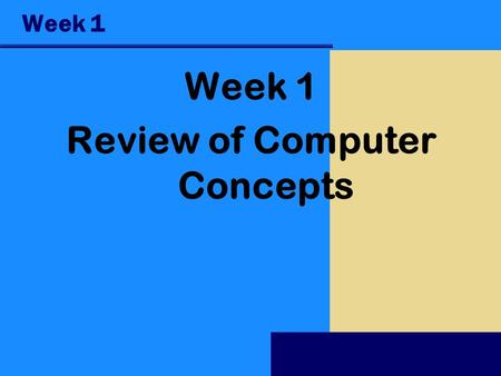 Week 1 Review of Computer Concepts. Objectives Recognize the importance of computer literacy Define the term, computer Identify the components of a computer.