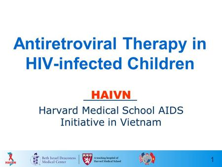 1 Antiretroviral Therapy in HIV-infected Children HAIVN Harvard Medical School AIDS Initiative in Vietnam.