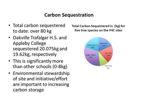 Carbon Sequestration Total carbon sequestered to date: over 80 kg Oakville Trafalgar H.S. and Appleby College sequestered 20.075kg and 19.62kg, respectively.