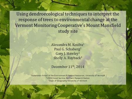 Using dendroecological techniques to interpret the response of trees to environmental change at the Vermont Monitoring Cooperative's Mount Mansfield study.