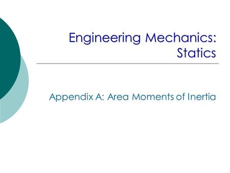 Engineering Mechanics: Statics Appendix A: Area Moments of Inertia.