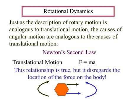 Rotational Dynamics Just as the description of rotary motion is analogous to translational motion, the causes of angular motion are analogous to the causes.