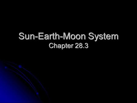 Sun-Earth-Moon System Chapter 28.3. Daily Motions The sun rises in the east & sets in the west. The sun rises in the east & sets in the west. This is.