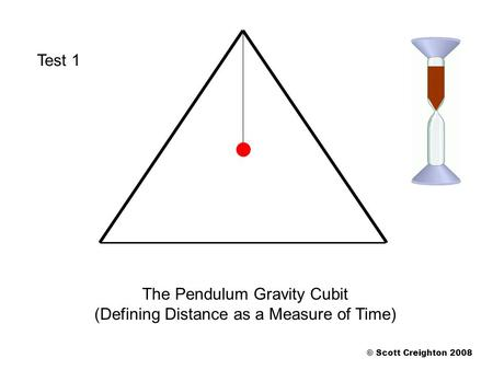 The Pendulum Gravity Cubit (Defining Distance as a Measure of Time) © Scott Creighton 2008 Test 1.