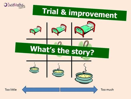 Trial & improvement Too muchToo little What's the story?