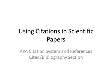 Reference management: A critical element of scientific writing