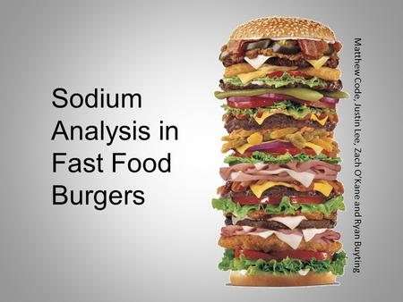 Sodium Analysis in Fast Food Burgers Matthew Code, Justin Lee, Zach O'Kane and Ryan Buyting.