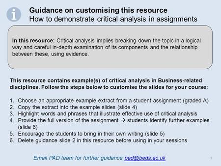 1 This Resource Contains Example(s) Of Critical Analysis In  Business Related Disciplines
