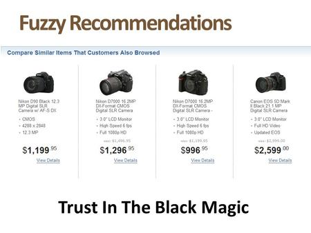 Fuzzy Recommendations Trust In The Black Magic. Site Search Can Drive Recommendations.