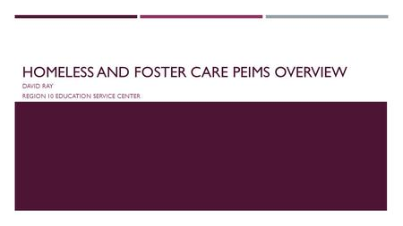 Homeless and Foster Care PEIMs Overview