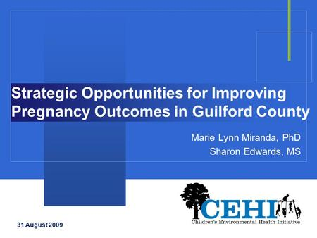 Strategic Opportunities for Improving Pregnancy Outcomes in Guilford County Marie Lynn Miranda, PhD Sharon Edwards, MS 31 August 2009.