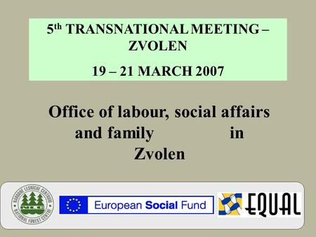 Office of labour, social affairs and family in Zvolen 5 th TRANSNATIONAL MEETING – ZVOLEN 19 – 21 MARCH 2007.