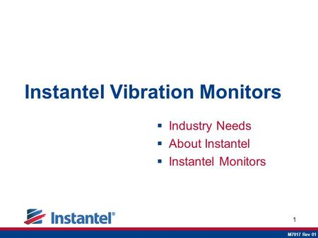 1 Instantel Vibration Monitors  Industry Needs  About Instantel  Instantel Monitors M7017 Rev 01.