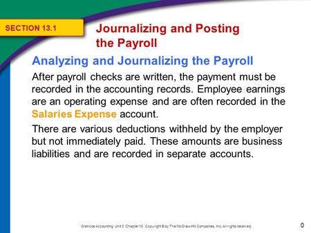 0 Glencoe Accounting Unit 3 Chapter 13 Copyright © by The McGraw-Hill Companies, Inc. All rights reserved. Analyzing and Journalizing the Payroll After.