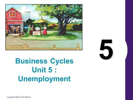Copyright © 2004 South-Western 5 Business Cycles Unit 5 : Unemployment.