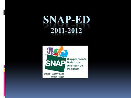 What is SNAP-Ed? Program implemented to help persons eligible for the Food Benefit Program to:  Make healthy food choices within a limited budget  Choose.