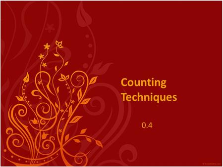 Counting Techniques 0.4.