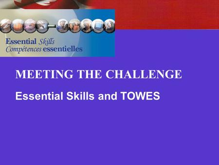 MEETING THE CHALLENGE Essential Skills and TOWES.