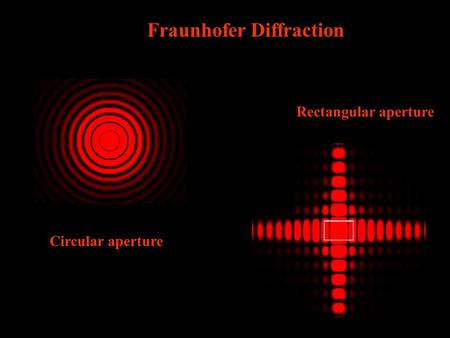 Circular aperture Rectangular aperture Fraunhofer Diffraction.
