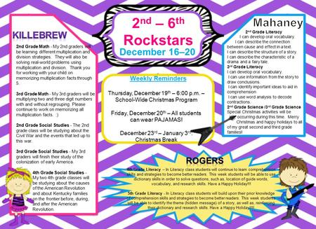 2 nd – 6 th Rockstars December 16–20 Weekly Reminders 4th Grade Literacy – In Literacy class students will continue to learn comprehension skills and strategies.