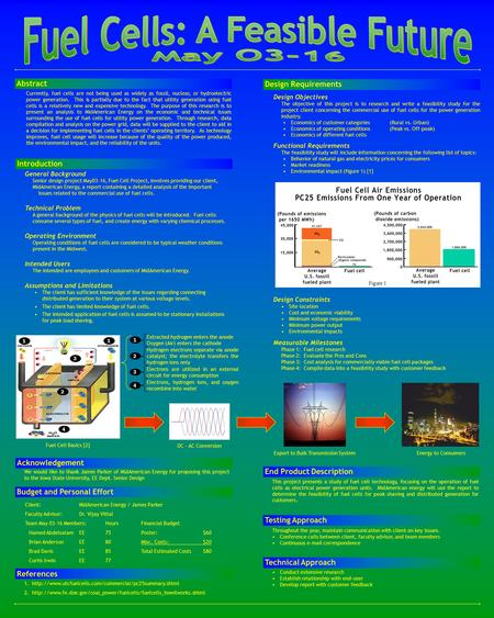 General Background Senior design project May03-16, Fuel Cell Project, involves providing our client, MidAmerican Energy, a report containing a detailed.