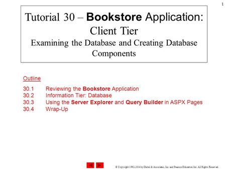 © Copyright 1992-2004 by Deitel & Associates, Inc. and Pearson Education Inc. All Rights Reserved. 1 Tutorial 30 – Bookstore Application: Client Tier Examining.