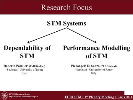 HPDCS Research Group  Research Focus STM Systems Dependability of STM Performance Modelling of STM EURO-TM | 1 st Plenary.