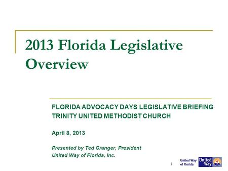 2013 Florida Legislative Overview FLORIDA ADVOCACY DAYS LEGISLATIVE BRIEFING TRINITY UNITED METHODIST CHURCH April 8, 2013 Presented by Ted Granger, President.