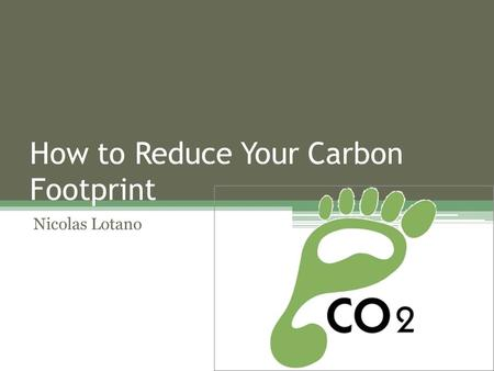 How to Reduce Your Carbon Footprint Nicolas Lotano.