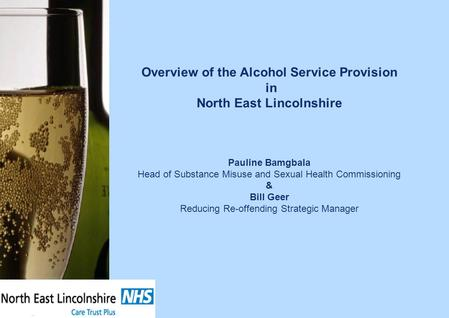 Overview of the Alcohol Service Provision in North East Lincolnshire Pauline Bamgbala Head of Substance Misuse and Sexual Health Commissioning & Bill Geer.