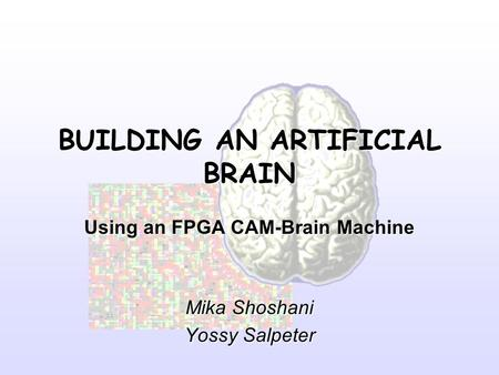 BUILDING AN ARTIFICIAL BRAIN Using an FPGA CAM-Brain Machine Mika Shoshani Yossy Salpeter.