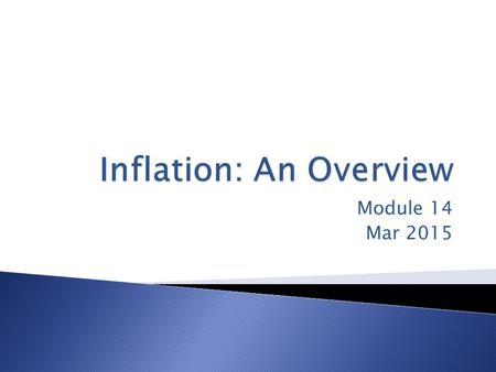 Module 14 Mar 2015.  Real Wage – the wage rate divided by the price level  Real Income – is income divided by the price level  Inflation – A given.